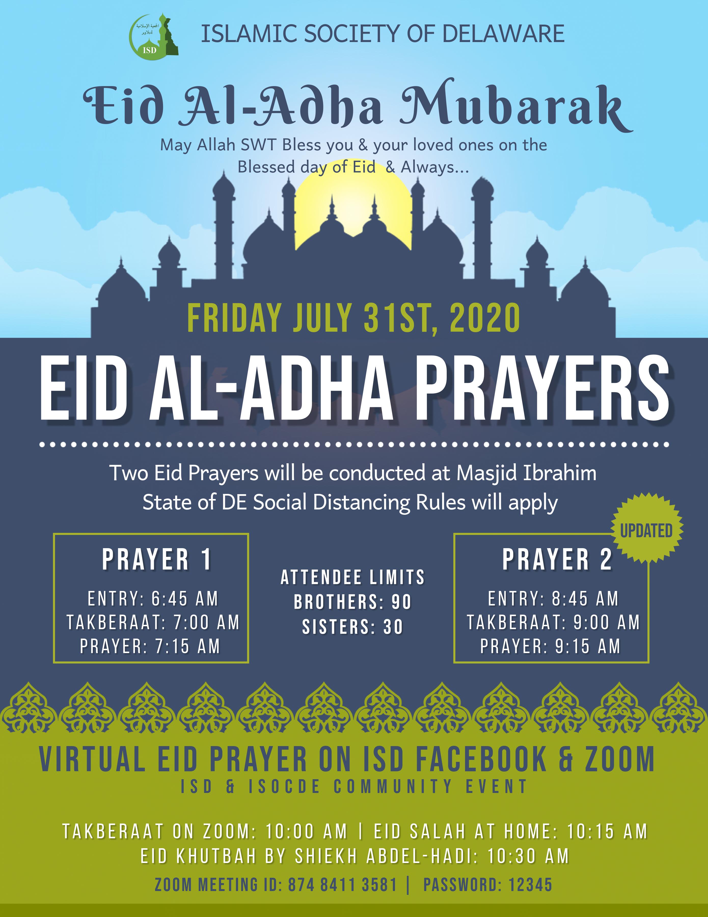 Eid Al-Adha will be on Friday, July 31st