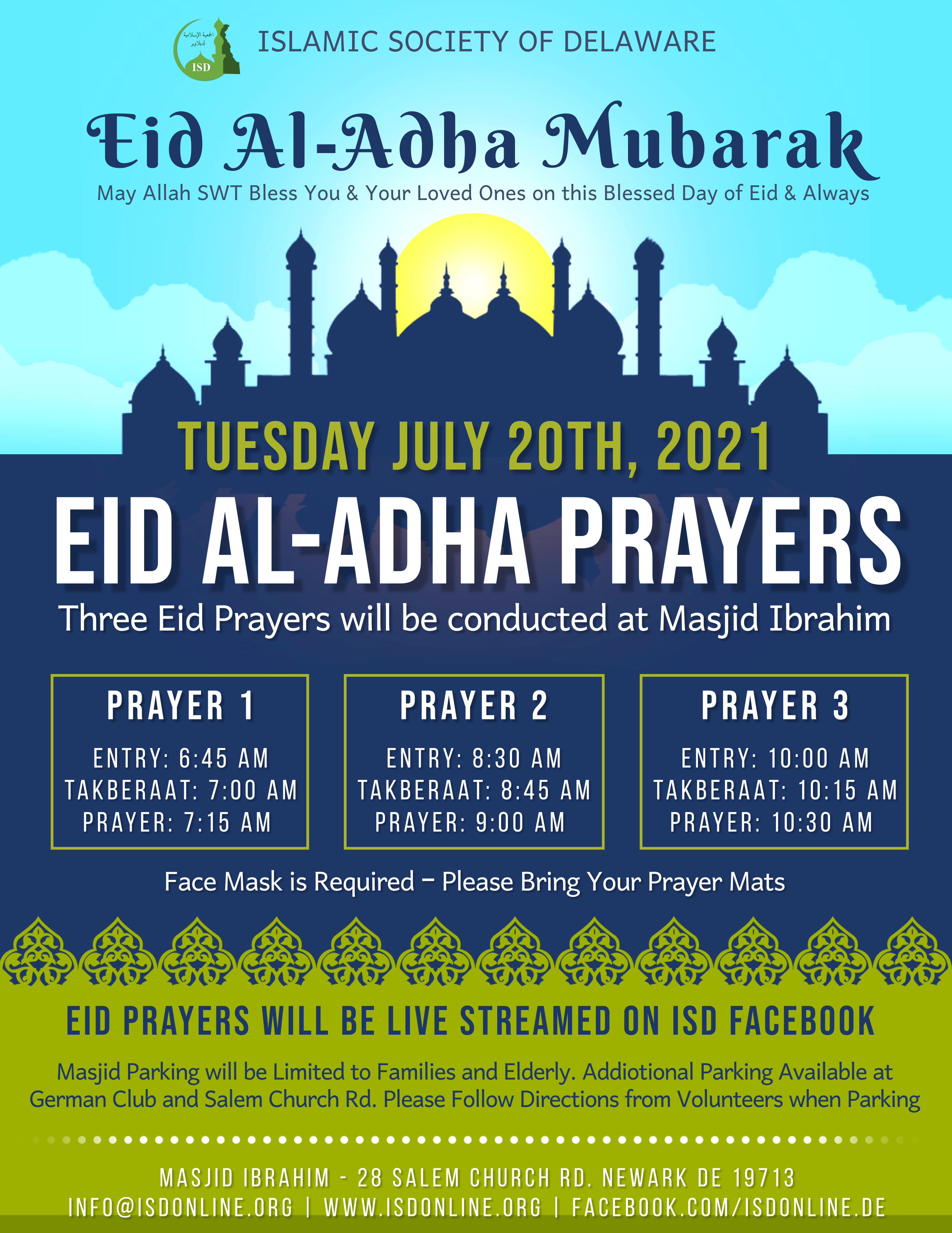 Eid Al-Adha to be Celebrated on Tuesday, July 20th