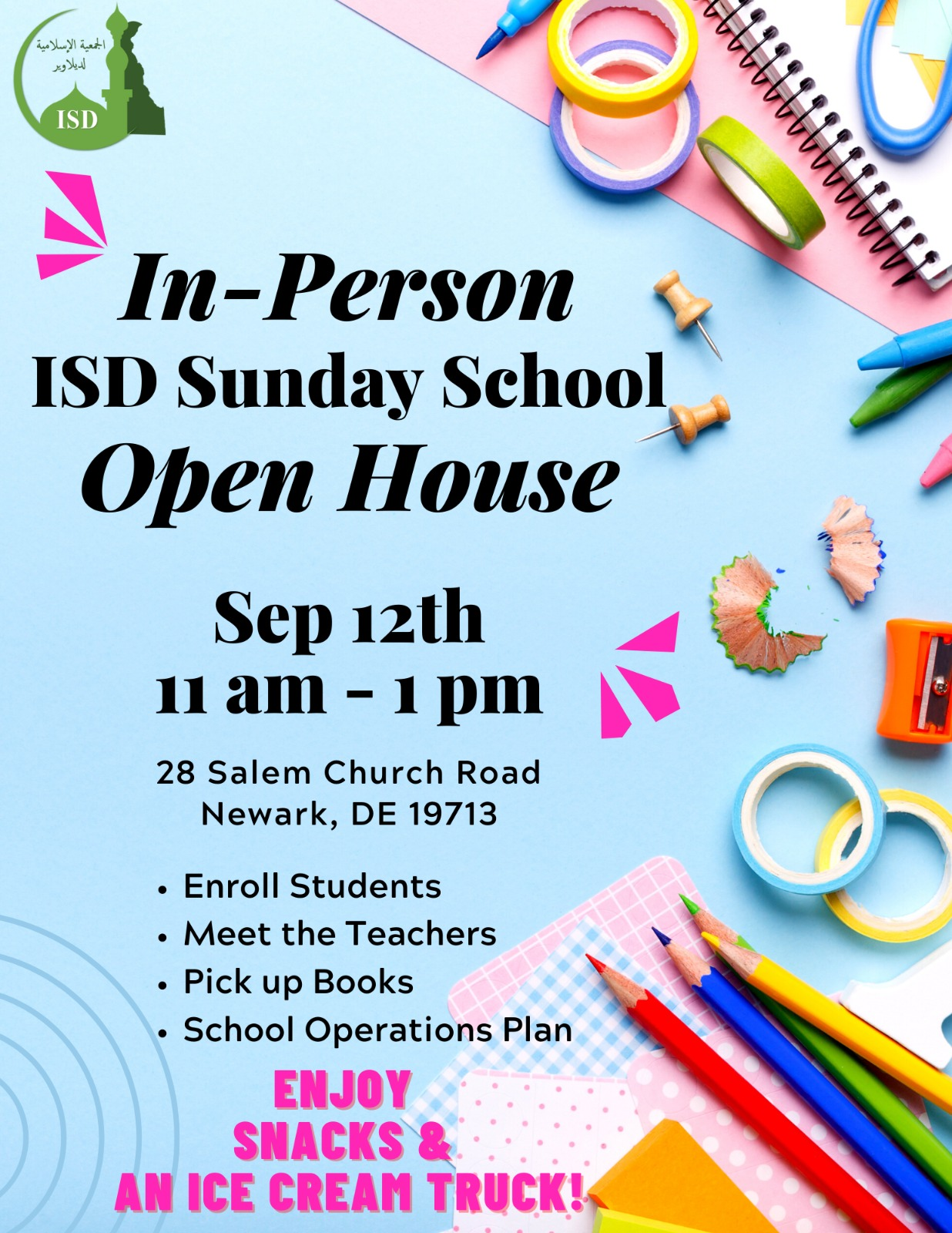 ISD Sunday School In-Person Open House