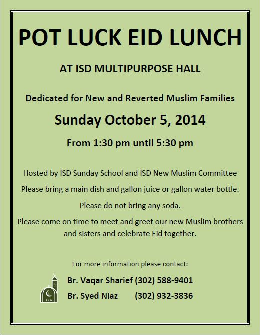 Pot Luck Eid Lunch