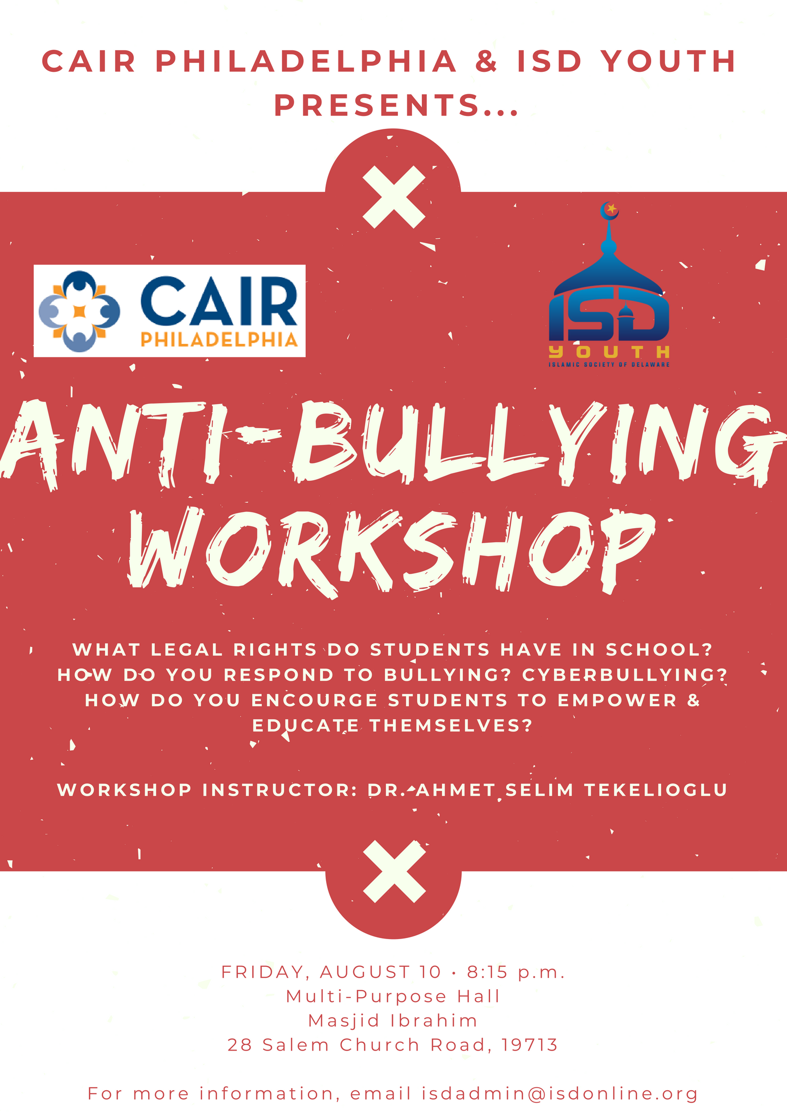 Anti Bullying Workshop August 10 Red Cross Cpr Training August 11